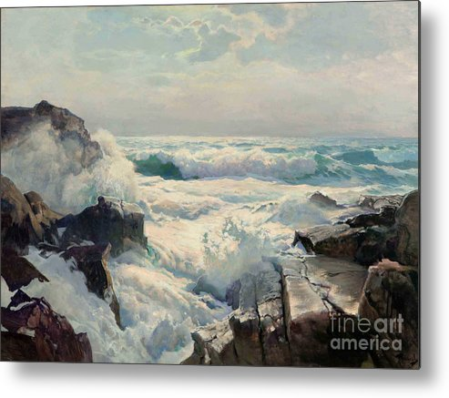 Pd Metal Print featuring the painting On The Maine Coast by Pg Reproductions