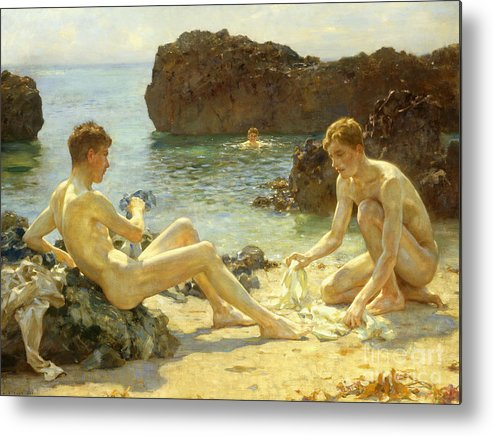 Nude Metal Print featuring the painting The Sun Bathers by Henry Scott Tuke