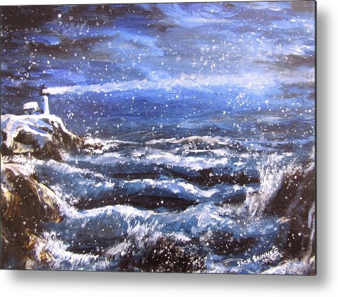 Ocean Metal Print featuring the painting Winter Coastal Storm by Jack Skinner