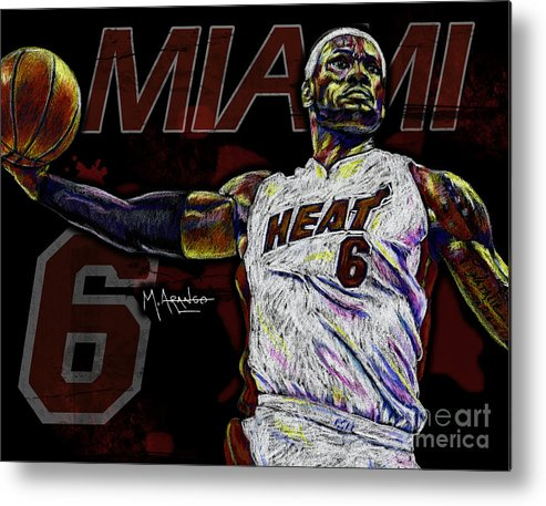 Lebron Metal Print featuring the drawing Lebron James by Maria Arango