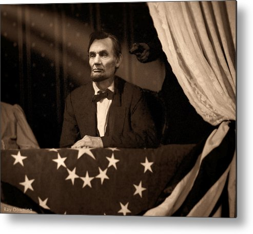 Abraham Lincoln Metal Print featuring the digital art Lincoln At Fords Theater by Ray Downing