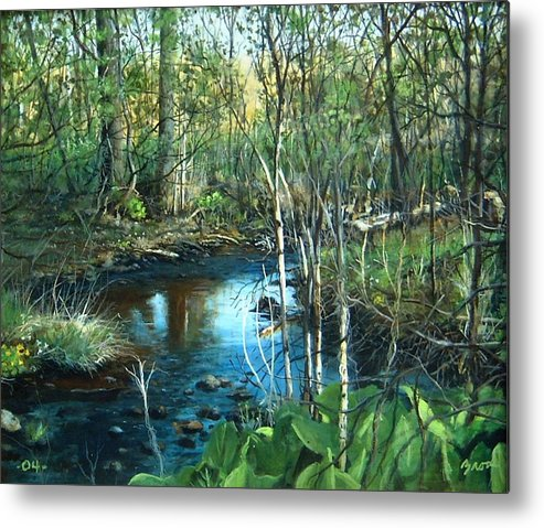 Landscape Metal Print featuring the painting Morning Surprise by William Brody