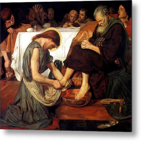 Christ Washing Peter's Feet Metal Print featuring the painting Christ Washing Peter's Feet by Ford Madox Brown