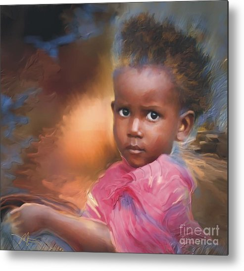 Portrait Metal Print featuring the painting Hour Of Need by Bob Salo