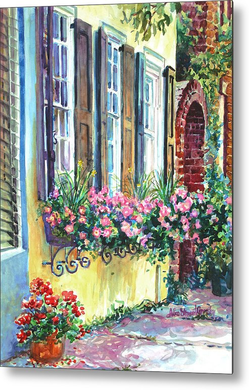Charleston Metal Print featuring the painting Church Street Textures by Alice Grimsley