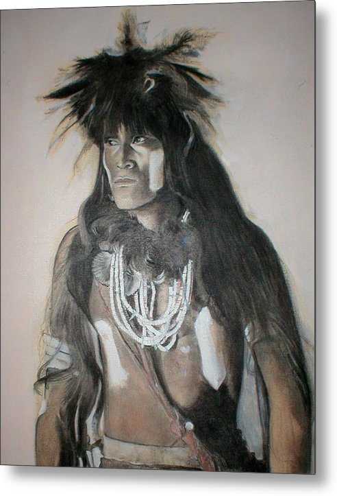 Hopi Metal Print featuring the painting Hopi Snake Priest by Terri Ana Stokes