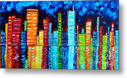 Abstract Metal Print featuring the painting Abstract Art Landscape City Cityscape Textured Painting City Nights II By Madart by Megan Duncanson