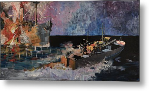 Ship Metal Print featuring the painting Santa Eliza Martyred by Ray Agius