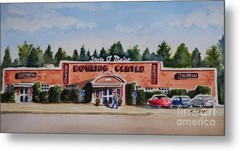 Metal Print featuring the painting Bowling Center by Andrea Timm