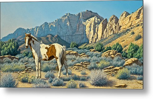 Landscape Metal Print featuring the painting Canyon Country Paints by Paul Krapf