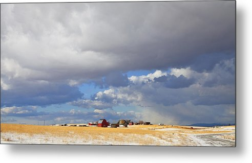 Farm Metal Print featuring the photograph First Snow On Storybook Farm by Theresa Tahara