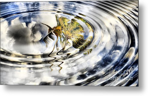 Palm Trees Reflecting In Water Metal Print featuring the photograph Palm Reflections by Cheryl Young