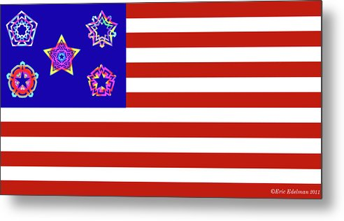 Pentacle Metal Print featuring the digital art Stars And Stripes Of Retrocollage by Eric Edelman