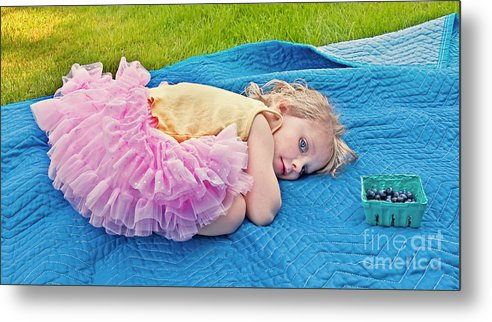 3 Year Old Girl Metal Print featuring the photograph Summer Rest With Blueberries by Valerie Garner