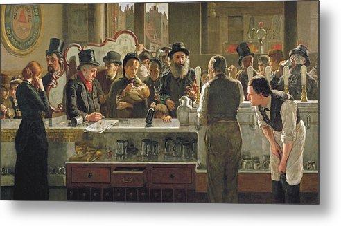 Drinking;drink;social;pub;landlord;barman;barmen Metal Print featuring the painting The Public Bar by John Henry Henshall