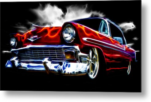 Red Street Rod Metal Print featuring the photograph 1956 Flamin Chevrolet by Phil 'motography' Clark