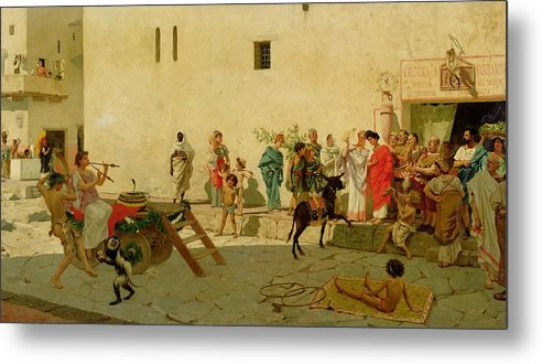 A Roman Street Scene With Musicians And A Performing Monkey Metal Print featuring the painting A Roman Street Scene With Musicians And A Performing Monkey by Modesto Faustini