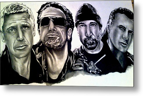 U2 Metal Print featuring the drawing U2 by Pauline Murphy