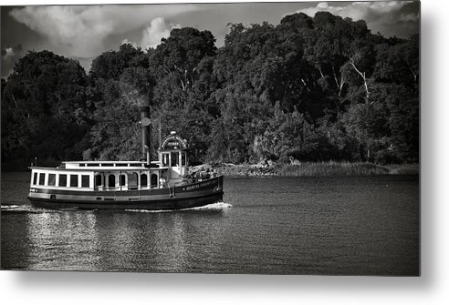 Black And White Metal Print featuring the photograph Ferry by Mario Celzner