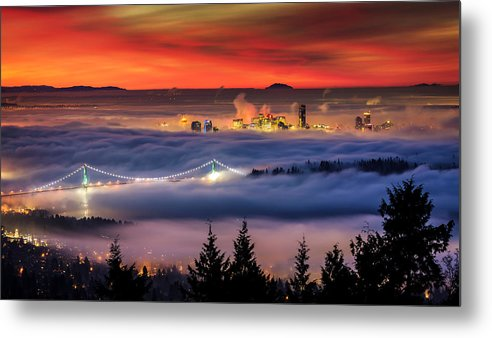 Skylines Metal Print featuring the photograph Fog Inversion Over Vancouver by Alexis Birkill