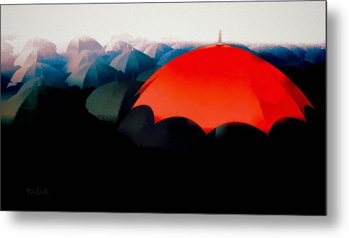 Umbrella Metal Print featuring the painting The Red Umbrella by Bob Orsillo