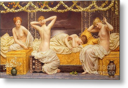 Female; Woman; Nude; See; Classical; A Summer Night Metal Print featuring the painting A Summer Night by Albert Joseph Moore