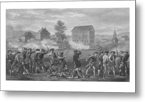 Minutemen Metal Print featuring the drawing The Battle Of Lexington by War Is Hell Store
