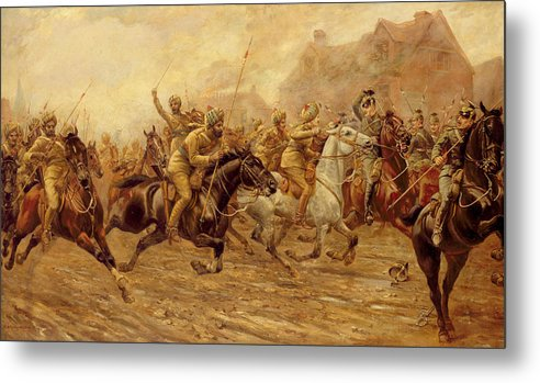 The Charge Of The Bengal Lancers At Neuve Chapelle Metal Print featuring the painting The Charge Of The Bengal Lancers At Neuve Chapelle by Derville Rowlandson