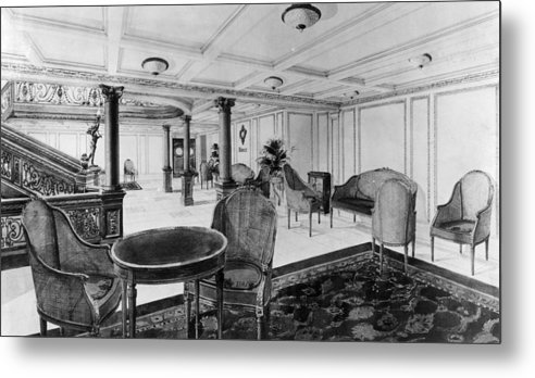 1910s Metal Print featuring the photograph The Restaurant Reception Room by Everett