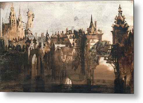 Victor Hugo Metal Print featuring the painting Town With A Broken Bridge by Victor Hugo