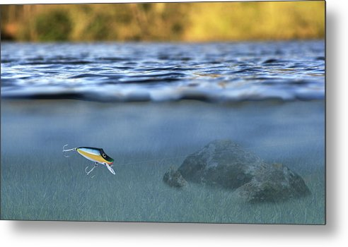 Lure In Use Metal Print featuring the photograph Fishing Lure In Use by Meirion Matthias