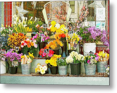 Bi-rite Market In San Francisco Metal Print featuring the painting Flowers At The Bi-rite Market In San Francisco by Artist and Photographer Laura Wrede