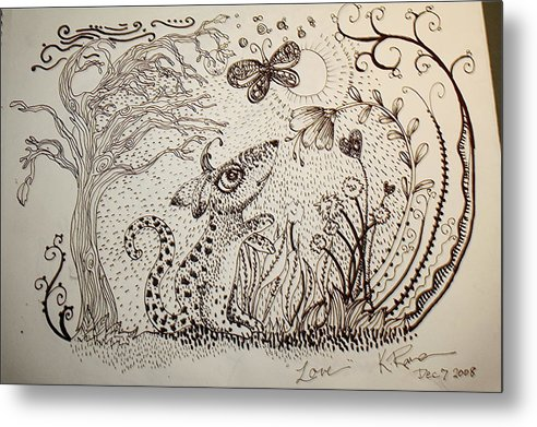 Pen Ink Nature Black White Metal Print featuring the ceramic art Mouse by Kathleen Raven