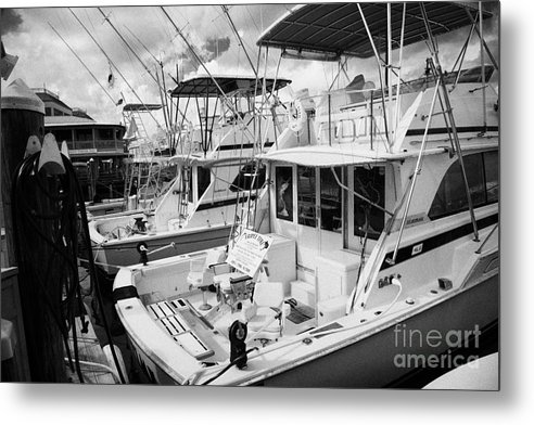 Charter Metal Print featuring the photograph Charter Fishing Boats In The Old Seaport Of Key West Florida Usa by Joe Fox