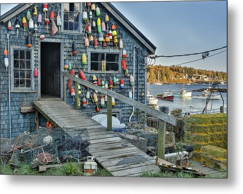 Horzontal Metal Print featuring the photograph Dock House In Maine by Jon Glaser