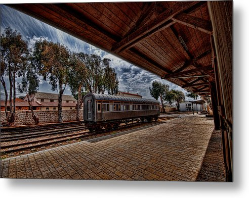 Kaballah Metal Print featuring the photograph platform view of the first railway station of Tel Aviv by Ron Shoshani