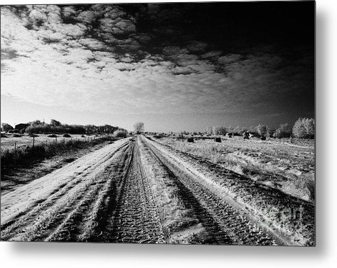 Small Metal Print featuring the photograph snow covered untreated rural small road in Forget Saskatchewan Canada by Joe Fox
