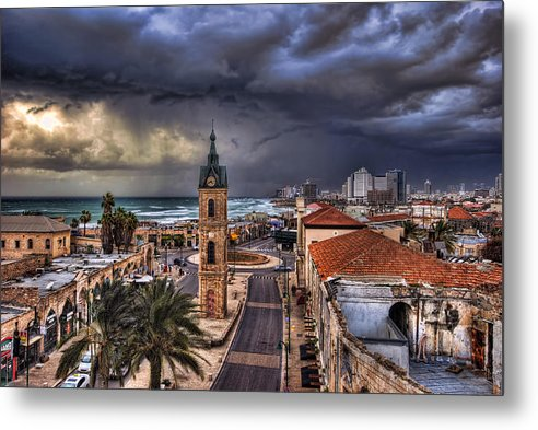 Clock Tower Metal Print featuring the photograph the Jaffa old clock tower by Ronsho