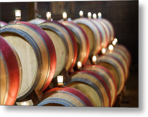 California Metal Print featuring the pastel Wine Barrels by Francesco Emanuele Carucci