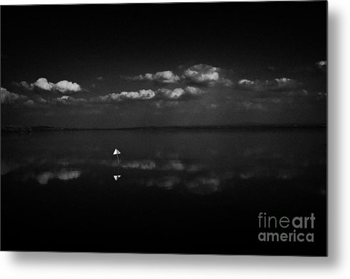 Inland Metal Print featuring the photograph Navigation Warning Marker On Still Lough Neagh County Antrim Northern Ireland by Joe Fox