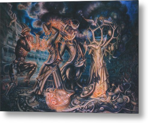 Metaphysik Metal Print featuring the painting Magicians Competition by De Es Schwertberger