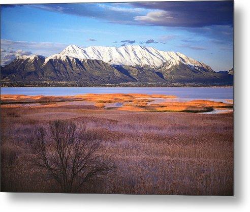 Marsh Metal Print featuring the photograph Mt. Timpanogos And Utah Lake by Utah Images