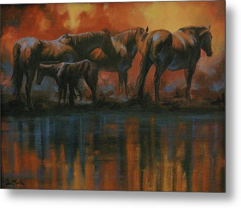 Horses Metal Print featuring the painting Simmerdim by Mia DeLode