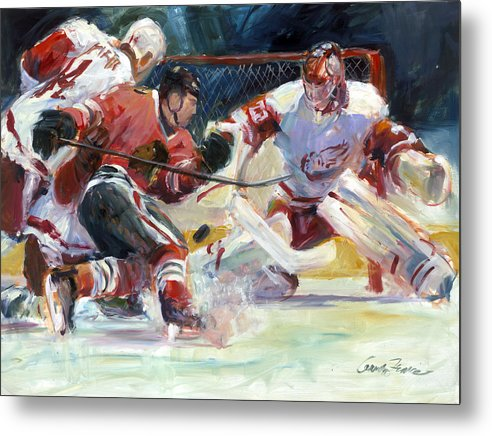 Sports Chicago Blackhawks Detroit Red Wings Hockey Goalmouth Action Metal Print featuring the painting Crashing The Net by Gordon France