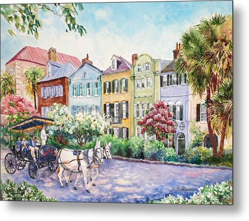 Charleston Metal Print featuring the painting Assault And Battery On Rainbow Row by Alice Grimsley