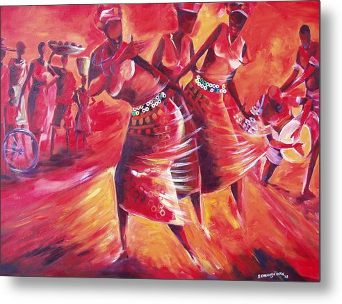 Celebration Metal Print featuring the painting Celeration by Michael Echekoba
