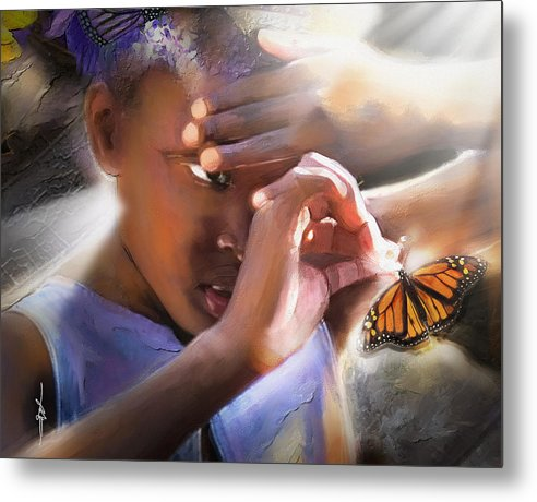 Butterfly Metal Print featuring the painting My Little Butterfly by Bob Salo