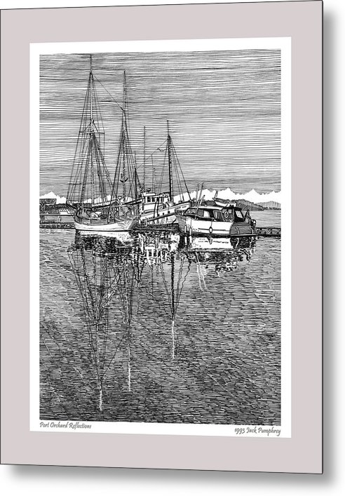 Pen And Ink Drawing Of The Reflections At The Port Orchard Marina Breakwater By Jack Pumphrey Metal Print featuring the drawing Reflections Of Port Orchard Washington by Jack Pumphrey