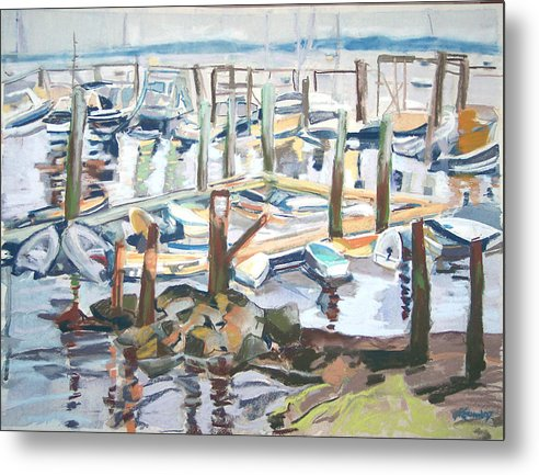 Maine Metal Print featuring the pastel Guardians Of The Harbor by Grace Keown