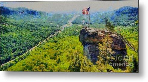 Chimney Rock North Carolina Metal Print featuring the painting Chimney Rock Nc by Elizabeth Coats